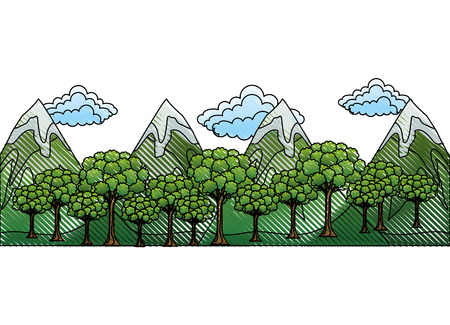 mountains with trees forest and snow scene vector illustration design Çizim