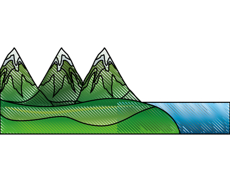 mountains with waterfall and snow scene vector illustration design
