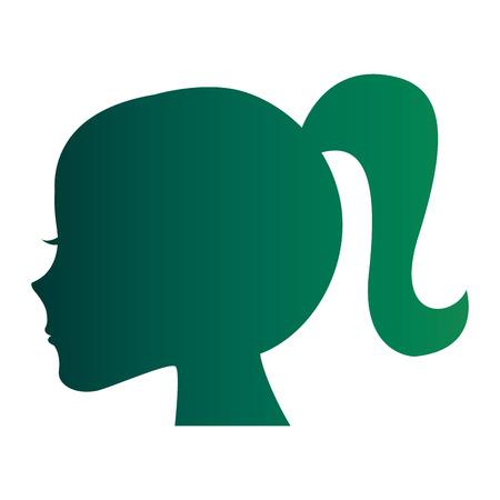 Weibliche Kopf Profil Silhouette Vektor-Illustration Design Standard-Bild - 98596011
