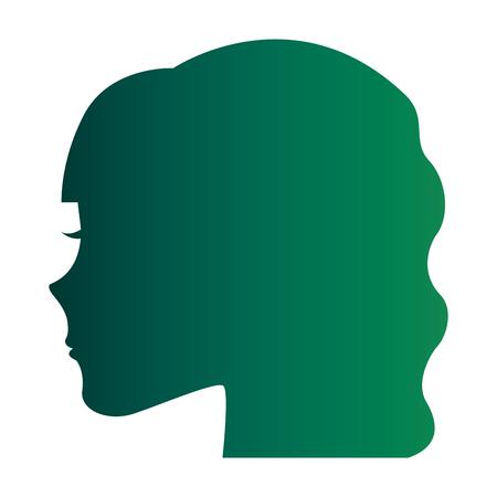 Weibliche Kopf Profil Silhouette Vektor-Illustration Design Standard-Bild - 98596016