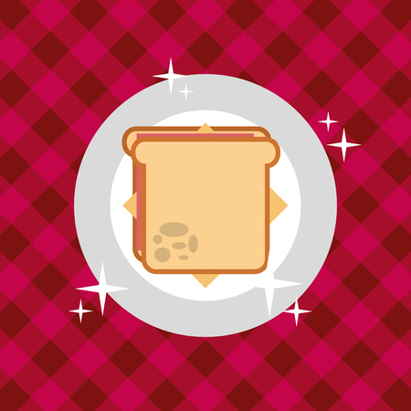 sandwich in dish on tablecloth picnic vector illustration