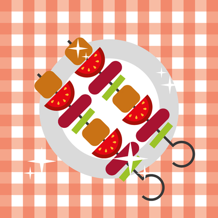 kebab skewer barbecue hot food picnic on dish vector illustration