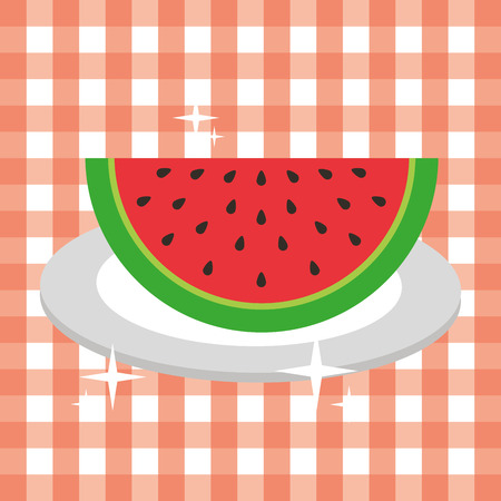 tarty slice watermelon in plate fresh picnic vector illustration Stock Illustratie