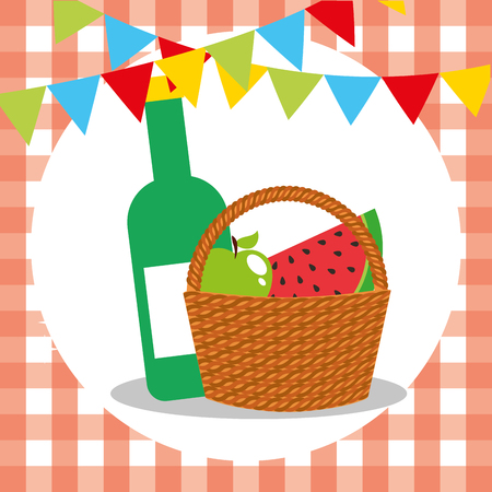 picnic wicker basket with watermelon apple and wine bottle vector illustration Illustration