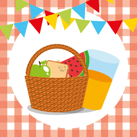 picnic wicker basket apple sandwich watermelon orange juice garland tablecloth vector illustration Illustration