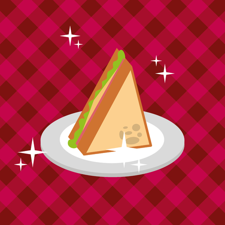 sliced sandwich in dish on red tablecloth picnic vector illustration