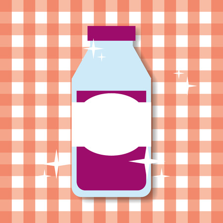 juice grape bottle glass shiny and checkered tablecloth vector illustration Illustration