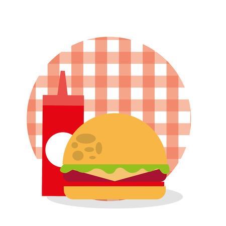 ピクニックハンバーガーとケチャップソースチェッカーテーブルクロスデザインベクターイラスト