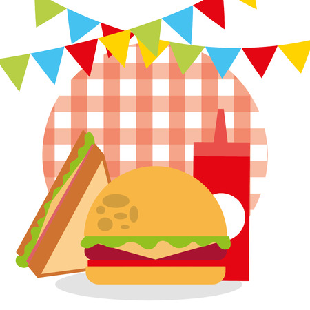 picnic burger sandwich ketchup garland checkered tablecloth design vector illustration Stock Illustratie