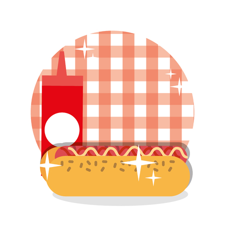 picnic hotdog ketchup sauce checkered tablecloth design vector illustration Illustration