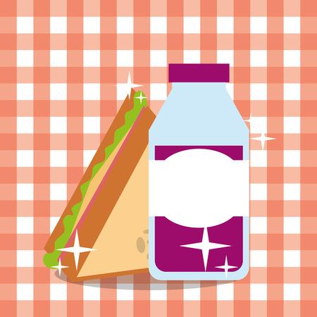 picnic sandwich and grape juice bottle bright tablecloth vector illustration