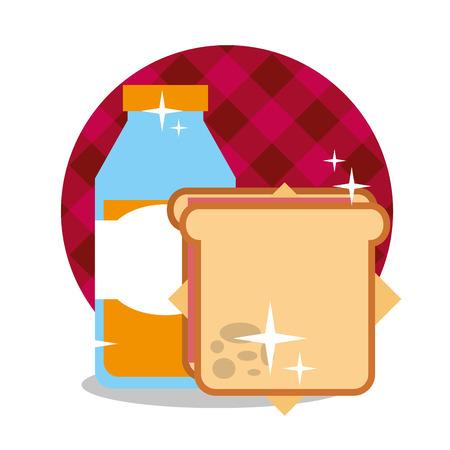 picnic sandwich and orange juice in bottle vector illustration