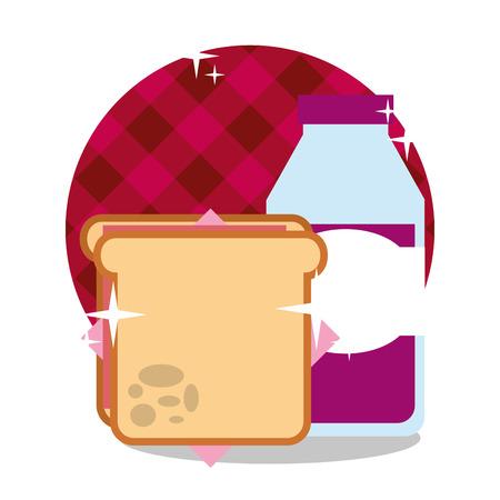 picnic sandwich and grape juice in bottle vector illustration