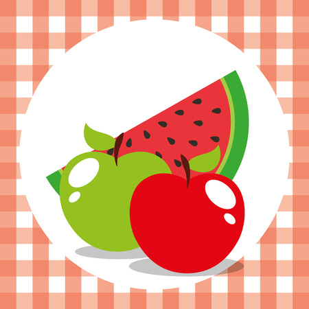 picnic tablecltoh with green red apple and watermelon vector illustration Illustration