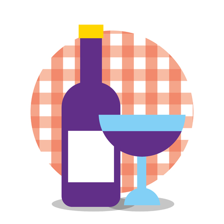 picnic wine bottle and glass drink checkered tablecloth design vector illustration