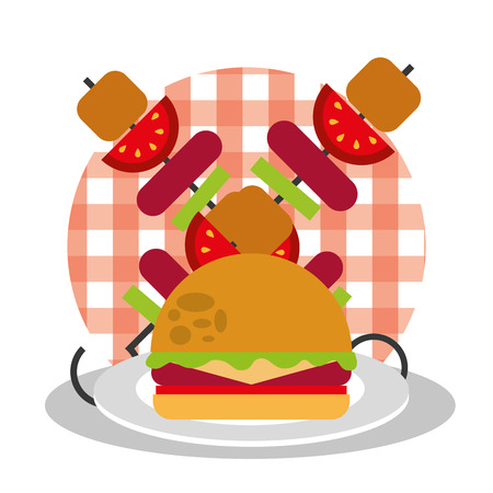 picnic burger and kebab with sausage and tomato on checkered tablecloth design vector illustration Stock Vector - 98596074