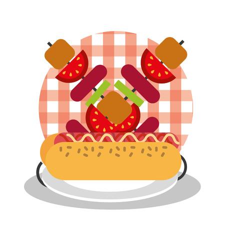 picnic hotdog and kebabs checkered tablecloth design vector illustration
