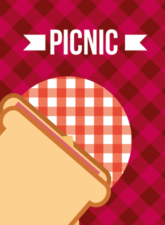 picnic sandwich with ham and cheese red tablecloth vector illustration  イラスト・ベクター素材