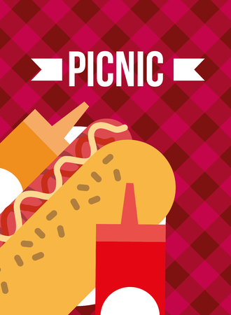 picnic hot dog and mustard ketchup sauces vector illustration 向量圖像