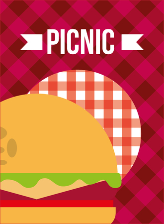 picnic burger bun meat lettuce cheese checkered tablecloth vector illustration Stock Illustratie