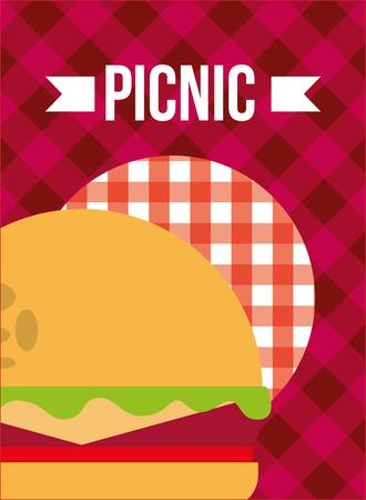 picnic burger bun meat lettuce cheese checkered tablecloth vector illustration Illustration