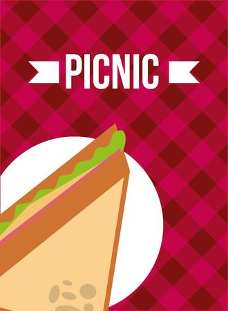 picnic tasty sandwich on dish food vector illustration Иллюстрация