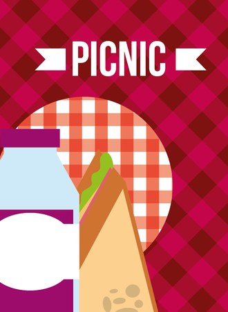 picnic slice sandwich and bottle juice delicious food vector illustration
