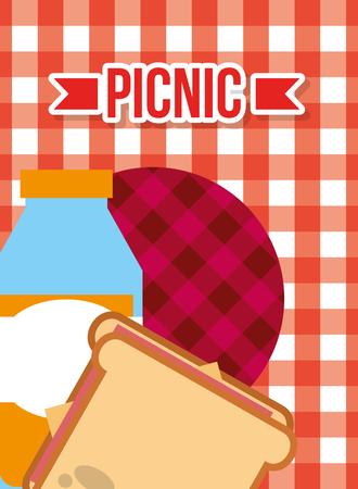 picnic fresh juice and sandwich on orange checkered tablecloth vector illustration Иллюстрация