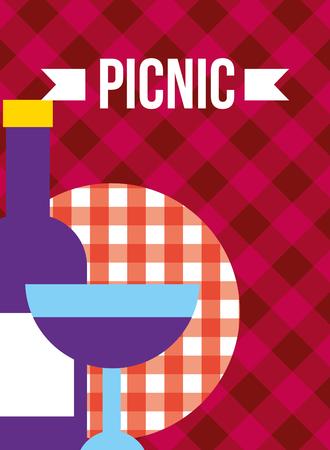 glass bottle and cup grape wine beverage picnic vector illustration Illustration