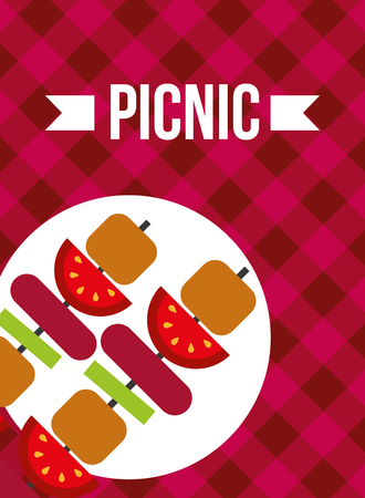 picnic two kebab food roasted fresh vector illustration Illustration