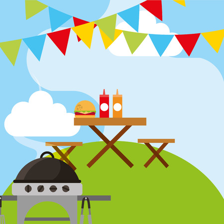 picnic scene wooden table with burger and sauces and grill in the hill vector illustration