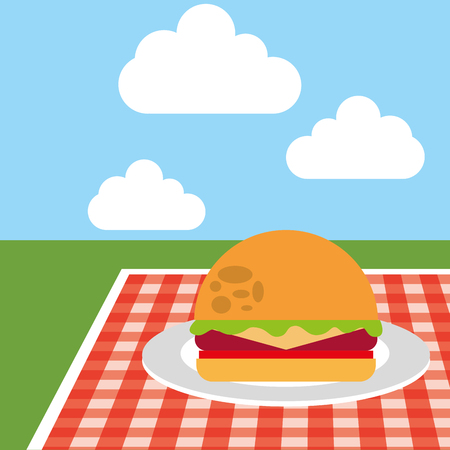 picnic tablecloth with burger in plate on meadow landscape vector illustration