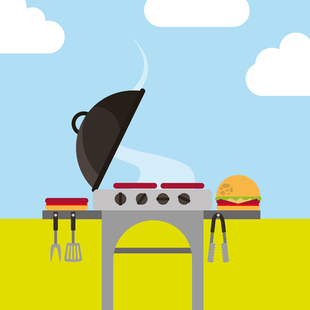 picnic grill roasted sausages and burger in landscape vector illustration