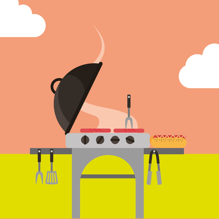 picnic grill roasted sausages hotdog fork vector illustration
