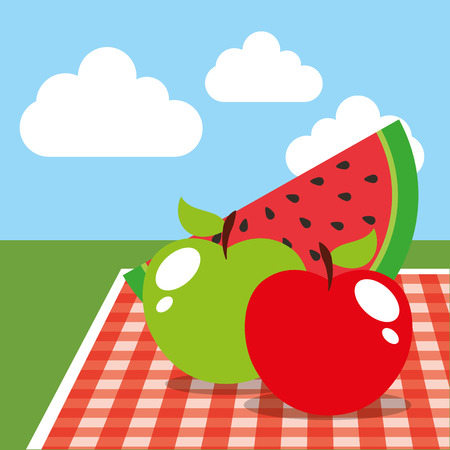 picnic tablecloth and watermelon apples on landscape vector illustration Stock Illustratie