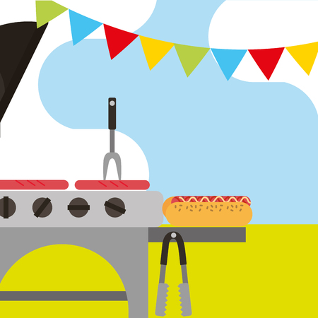 picnic grill roasted sausages hotdog fork and garland decoration vector illustration