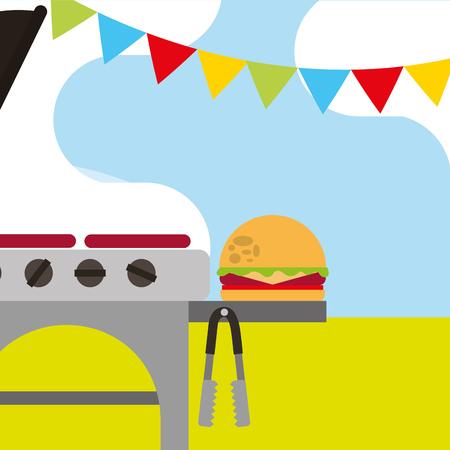 Pique-nique, grill, nourriture rôtie, burger, et, guirlande, vecteur, illustration Banque d'images - 98596147