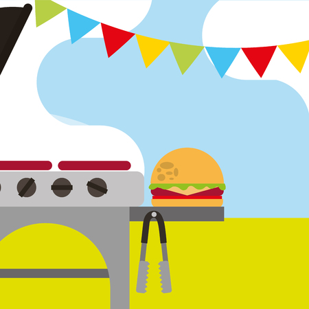 picnic grill roasted food burger and garland vector illustration