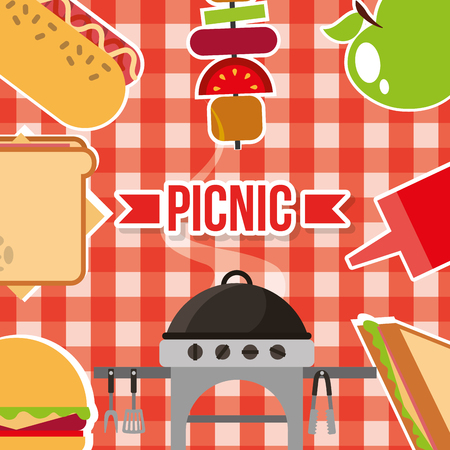 picnic poster food grill sauce on red checkered tablecloth vector illustration