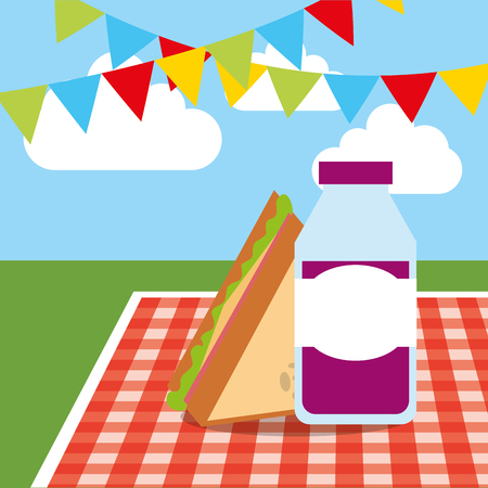 tablecloth with grape juice and slice sandwich garland hanging vector illustration