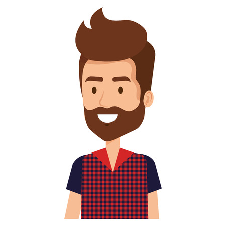 young man with beard hipster style avatar character vector illustration design