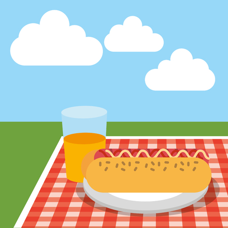 picnic tablecloth with hotdog and orange juice on field vector illustration 일러스트