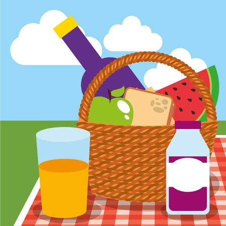 picnic wicker basket wine watermelon apple sandwich juices on field vector illustration