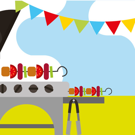 picnic grill roasted kebabs and graland hanging vector illustration
