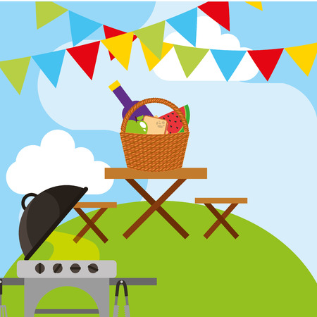 picnic grill and wooden table with wicker basket full food and garland hang vector illustration