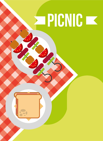 picnic kebabs and sandwich on red checkred tablecloth vector illustration Ilustrace