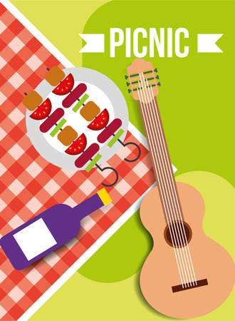 picnic tablecloth wine bottle kebab and guitar vector illustration