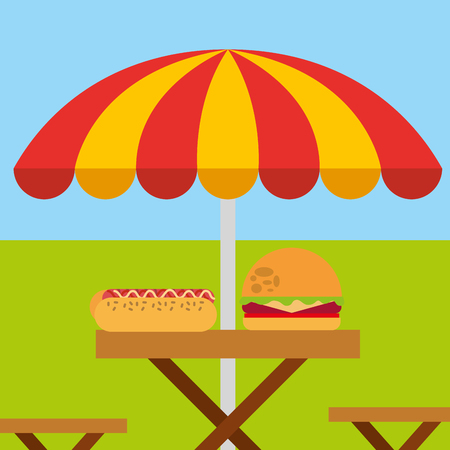 picnic wooden table with burger sandwich and umbrella vector illustration