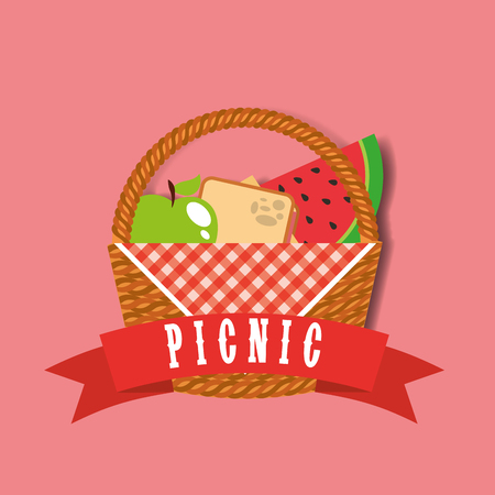 picnic wicker basket with watermelon apple and sandwich banner vector illustration Standard-Bild - 98584130