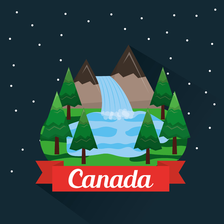 canadian mountains waterfall forest lake vector illustration
